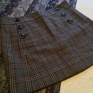 GAP Plaid Wool Blend Skirt
